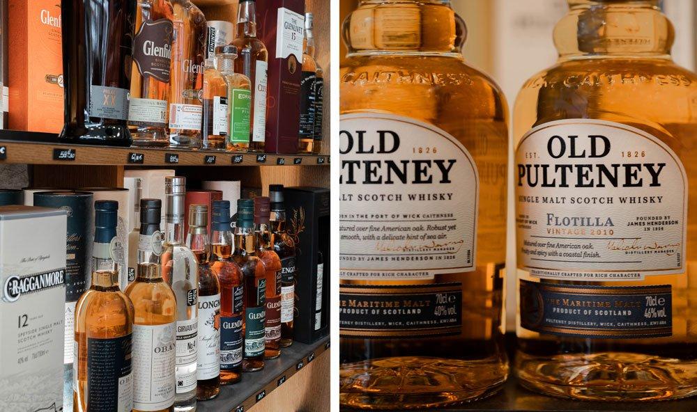 Etagère de whiskys à l'Echanson