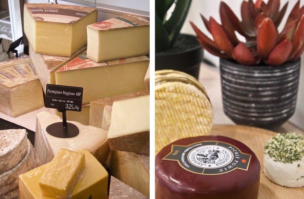 Vitrine et plateau de fromage à la fromagerie de Caroline
